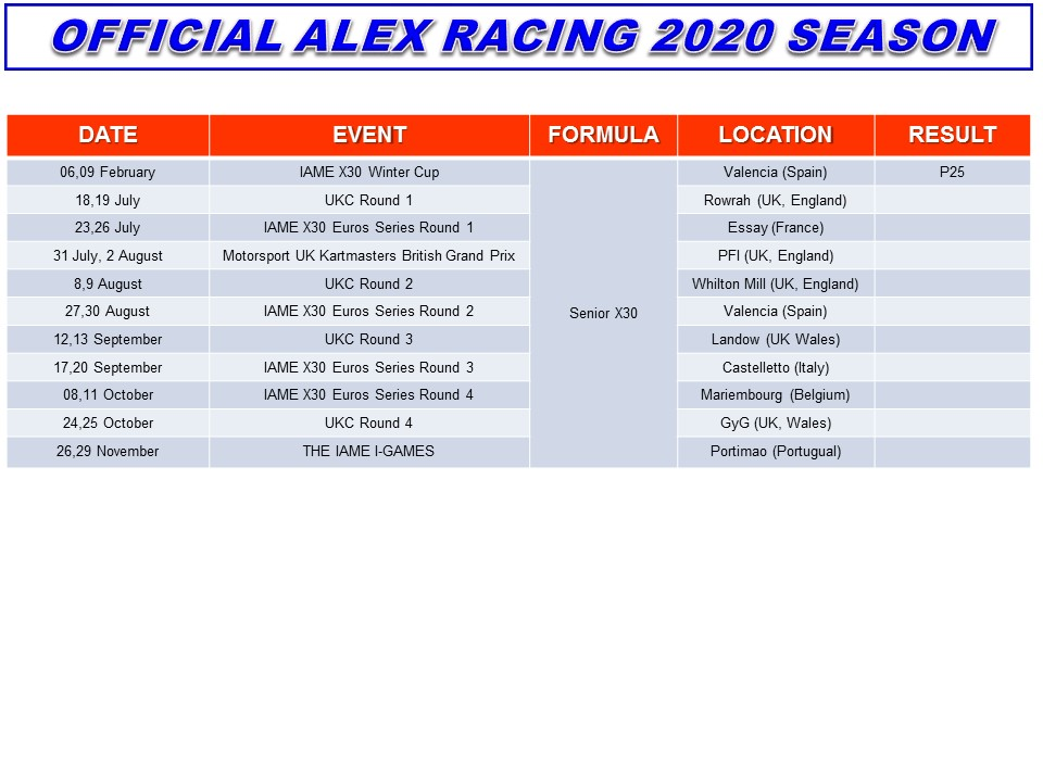 Alex Racing Season 2020